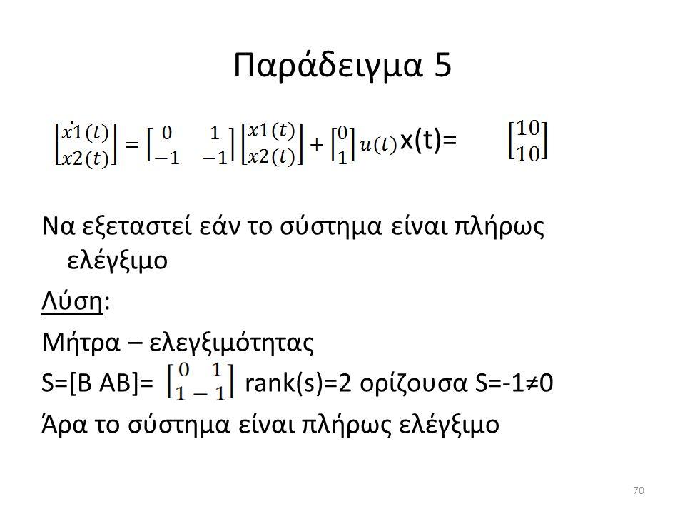 Παράδειγμα 5 x(t)= Να εξεταστεί εάν το σύστημα είναι πλήρως ελέγξιμο Λύση: Μήτρα – ελεγξιμότητας S=[B AB]= rank(s)=2 ορίζουσα S=-1≠0 Άρα το σύστημα εί