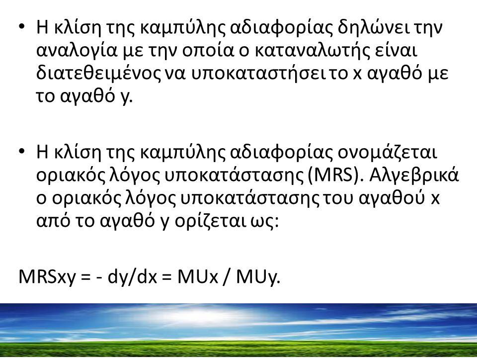 H κλίση της καμπύλης αδιαφορίας δηλώνει την αναλογία με την οποία ο καταναλωτής είναι διατεθειμένος να υποκαταστήσει το x αγαθό με το αγαθό y.