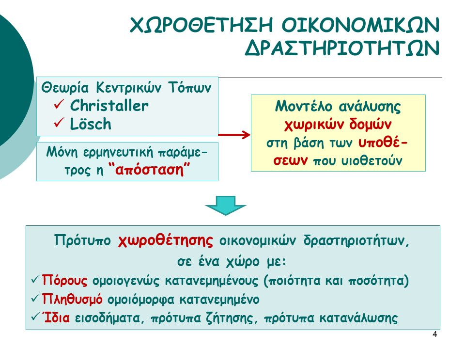 4 ΧΩΡΟΘΕΤΗΣΗ ΟΙΚΟΝΟΜΙΚΩΝ ΔΡΑΣΤΗΡΙΟΤΗΤΩΝ Πρότυπο χωροθέτησης οικονομικών δραστηριοτήτων, σε ένα χώρο με: Πόρους ομοιογενώς κατανεμημένους (ποιότητα και ποσότητα) Πληθυσμό ομοιόμορφα κατανεμημένο Ίδια εισοδήματα, πρότυπα ζήτησης, πρότυπα κατανάλωσης Θεωρία Κεντρικών Τόπων Christaller Lösch Μοντέλο ανάλυσης χωρικών δομών στη βάση των υποθέ- σεων που υιοθετούν Μόνη ερμηνευτική παράμε- τρος η απόσταση