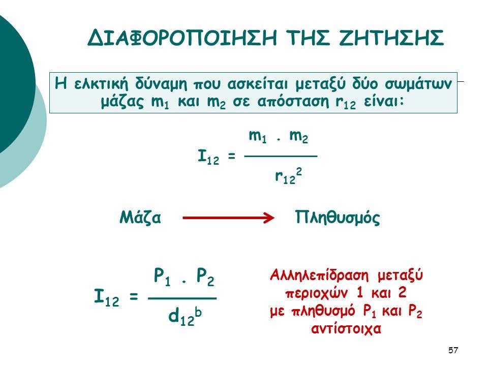 P 1. P 2 I 12 = d 12 b 57 ΔΙΑΦΟΡΟΠΟΙΗΣΗ ΤΗΣ ΖΗΤΗΣΗΣ Η ελκτική δύναμη που ασκείται μεταξύ δύο σωμάτων μάζας m 1 και m 2 σε απόσταση r 12 είναι: m 1. m