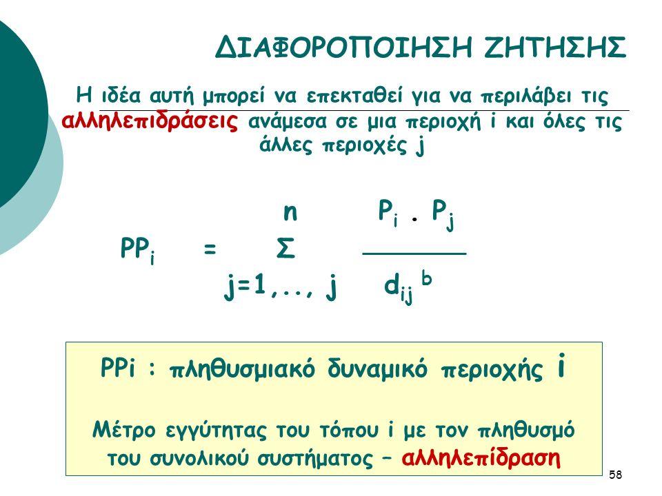 Η ιδέα αυτή μπορεί να επεκταθεί για να περιλάβει τις αλληλεπιδράσεις ανάμεσα σε μια περιοχή i και όλες τις άλλες περιοχές j n P i.