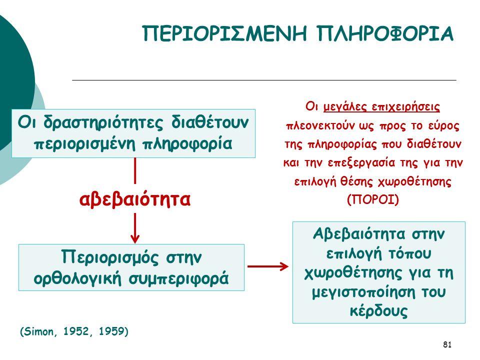 ΠΕΡΙΟΡΙΣΜΕΝΗ ΠΛΗΡΟΦΟΡΙΑ Οι δραστηριότητες διαθέτουν περιορισμένη πληροφορία 81 (Simon, 1952, 1959) Περιορισμός στην ορθολογική συμπεριφορά Αβεβαιότητα στην επιλογή τόπου χωροθέτησης για τη μεγιστοποίηση του κέρδους Οι μεγάλες επιχειρήσεις πλεονεκτούν ως προς το εύρος της πληροφορίας που διαθέτουν και την επεξεργασία της για την επιλογή θέσης χωροθέτησης (ΠΟΡΟΙ) αβεβαιότητα