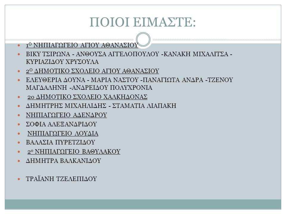 ΠΟΙΟΙ ΕΙΜΑΣΤΕ: 1 Ο ΝΗΠΙΑΓΩΓΕΙΟ ΑΓΙΟΥ ΑΘΑΝΑΣΙΟΥ ΒΙΚΥ ΤΣΙΡΩΝΑ - ΑΝΘΟΥΣΑ ΑΓΓΕΛΟΠΟΥΛΟΥ -ΚΑΝΑΚΗ ΜΙΧΑΛΙΤΣΑ - ΚΥΡΙΑΖΙΔΟΥ ΧΡΥΣΟΥΛΑ 2 Ο ΔΗΜΟΤΙΚΟ ΣΧΟΛΕΙΟ ΑΓΙΟΥ