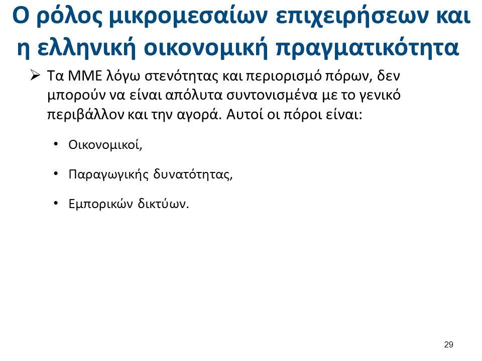 Ο ρόλος μικρομεσαίων επιχειρήσεων και η ελληνική οικονομική πραγματικότητα  Τα ΜΜΕ λόγω στενότητας και περιορισμό πόρων, δεν μπορούν να είναι απόλυτα