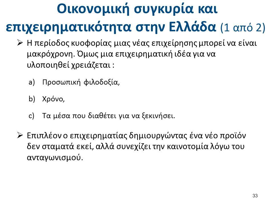 Οικονομική συγκυρία και επιχειρηματικότητα στην Ελλάδα (1 από 2)  Η περίοδος κυοφορίας μιας νέας επιχείρησης μπορεί να είναι μακρόχρονη. Όμως μια επι
