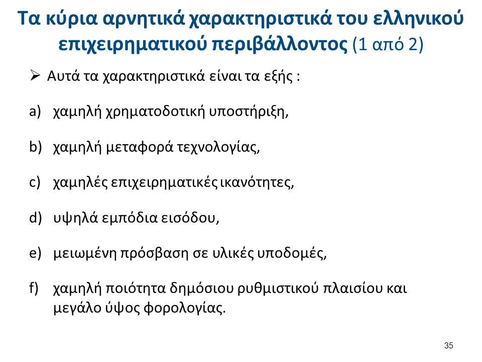 Τα κύρια αρνητικά χαρακτηριστικά του ελληνικού επιχειρηματικού περιβάλλοντος (1 από 2)  Αυτά τα χαρακτηριστικά είναι τα εξής : a)χαμηλή χρηματοδοτική