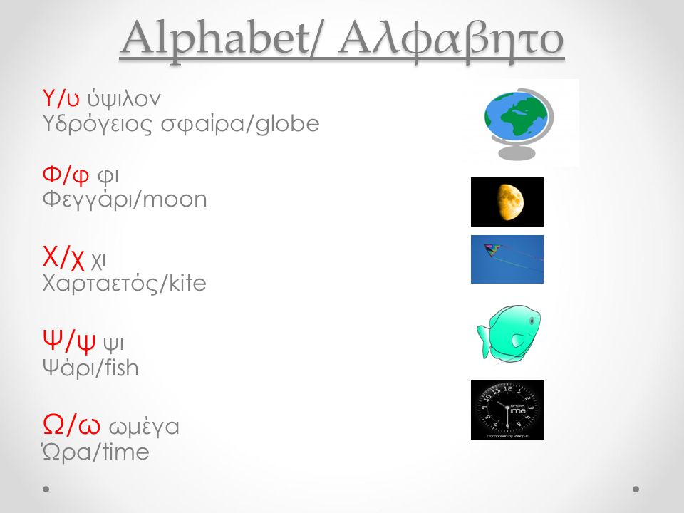 Alphabet/ Αλφαβητο Υ/υ ύψιλον Υδρόγειος σφαίρα/globe Φ/φ φι Φεγγάρι/moon Χ/χ χι Χαρταετός/kite Ψ/ψ ψι Ψάρι/fish Ω/ω ωμέγα Ώρα/time