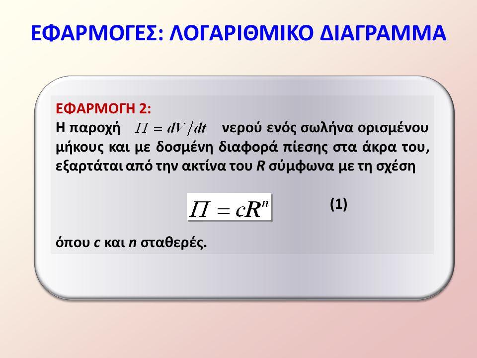 ΕΦΑΡΜΟΓΕΣ: ΛΟΓΑΡΙΘΜΙΚΟ ΔΙΑΓΡΑΜΜΑ ΕΦΑΡΜΟΓΗ 2: Η παροχή νερού ενός σωλήνα ορισμένου μήκους και με δοσμένη διαφορά πίεσης στα άκρα του, εξαρτάται από την ακτίνα του R σύμφωνα με τη σχέση (1) όπου c και n σταθερές.