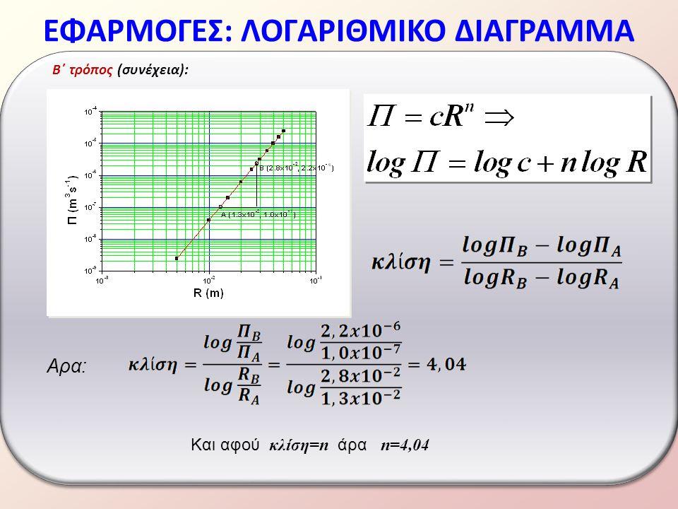 ΕΦΑΡΜΟΓΕΣ: ΛΟΓΑΡΙΘΜΙΚΟ ΔΙΑΓΡΑΜΜΑ B΄ τρόπος (συνέχεια): Αρα: Και αφού κλίση=n άρα n=4,04