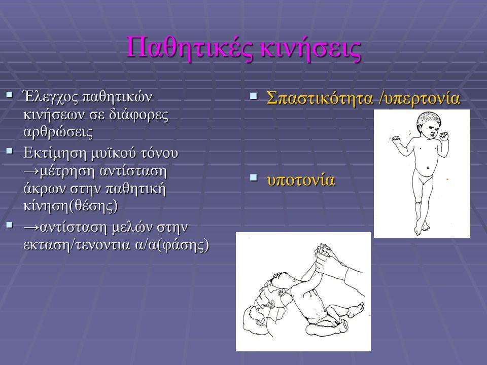 Παθητικές κινήσεις  Έλεγχος παθητικών κινήσεων σε διάφορες αρθρώσεις  Εκτίμηση μυϊκού τόνου →μέτρηση αντίσταση άκρων στην παθητική κίνηση(θέσης)  →αντίσταση μελών στην εκταση/τενοντια α/α(φάσης)  Σπαστικότητα /υπερτονία  υποτονία