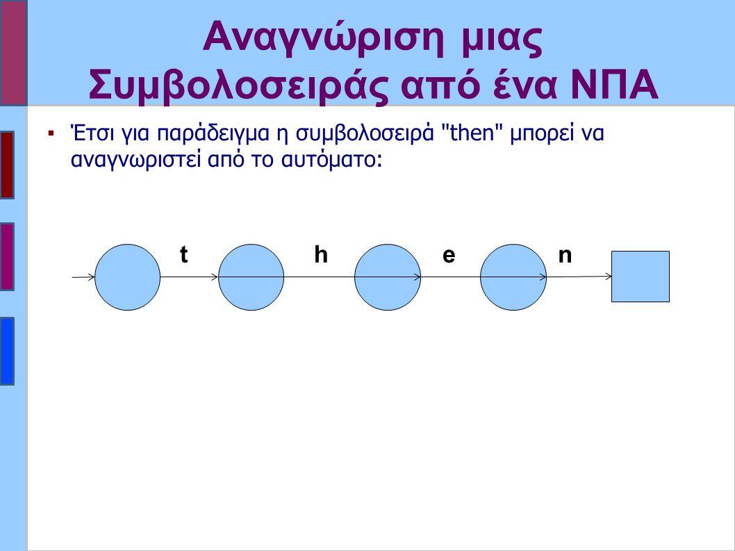 Αναγνώριση μιας Συμβολοσειράς από ένα ΝΠΑ t h e n ▪Έτσι για παράδειγμα η συμβολοσειρά