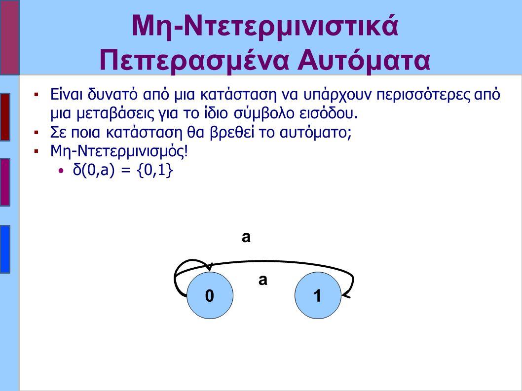 Μη-Ντετερμινιστικά Πεπερασμένα Αυτόματα ▪Είναι δυνατό από μια κατάσταση να υπάρχουν περισσότερες από μια μεταβάσεις για το ίδιο σύμβολο εισόδου. ▪Σε π