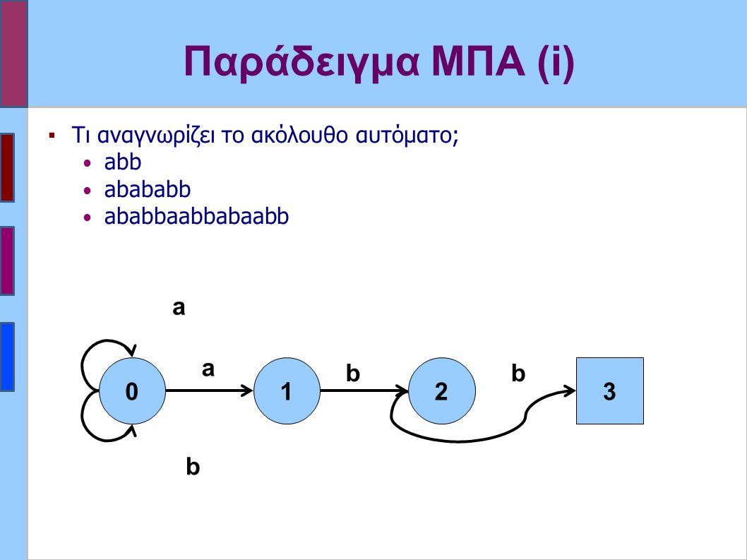 Παράδειγμα ΜΠΑ (i) ▪Τι αναγνωρίζει το ακόλουθο αυτόματο; abb abababb ababbaabbabaabb 012 a b b a 3 b