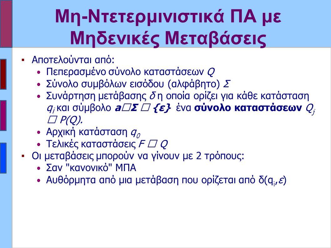 Μη-Ντετερμινιστικά ΠΑ με Μηδενικές Μεταβάσεις ▪Αποτελούνται από: Πεπερασμένο σύνολο καταστάσεων Q Σύνολο συμβόλων εισόδου (αλφάβητο) Σ Συνάρτηση μετάβ