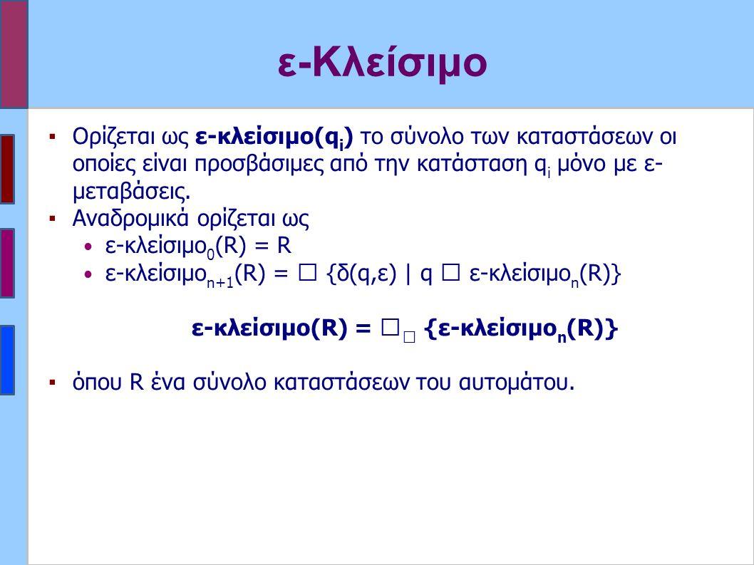 ε-Κλείσιμο ▪Ορίζεται ως ε-κλείσιμο(q i ) το σύνολο των καταστάσεων οι οποίες είναι προσβάσιμες από την κατάσταση q i μόνο με ε- μεταβάσεις. ▪Αναδρομικ