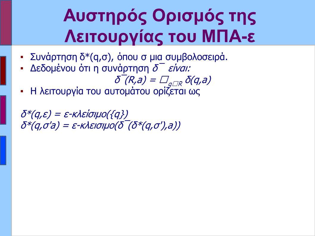 Αυστηρός Ορισμός της Λειτουργίας του ΜΠΑ-ε ▪Συνάρτηση δ*(q,σ), όπου σ μια συμβολοσειρά. ▪Δεδομένου ότι η συνάρτηση δ‾ είναι: δ‾(R,a) =  q  R δ(q,a)