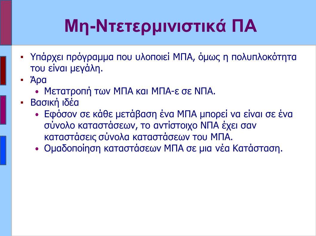 Μη-Ντετερμινιστικά ΠΑ ▪Υπάρχει πρόγραμμα που υλοποιεί MΠΑ, όμως η πολυπλοκότητα του είναι μεγάλη. ▪Άρα Μετατροπή των ΜΠΑ και ΜΠΑ-ε σε ΝΠΑ. ▪Βασική ιδέ
