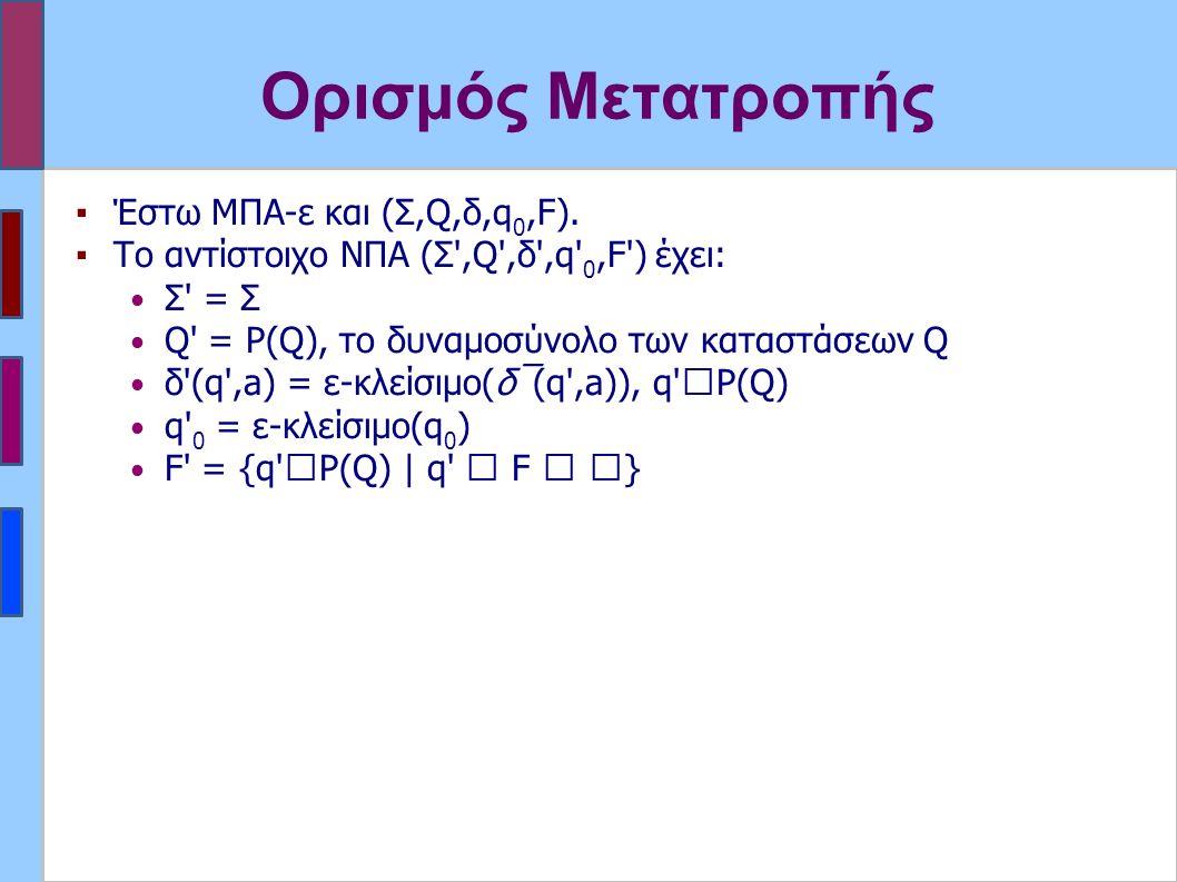 Ορισμός Μετατροπής ▪Έστω ΜΠΑ-ε και (Σ,Q,δ,q 0,F). ▪Το αντίστοιχο ΝΠΑ (Σ',Q',δ',q' 0,F') έχει: Σ' = Σ Q' = P(Q), το δυναμοσύνολο των καταστάσεων Q δ'(q