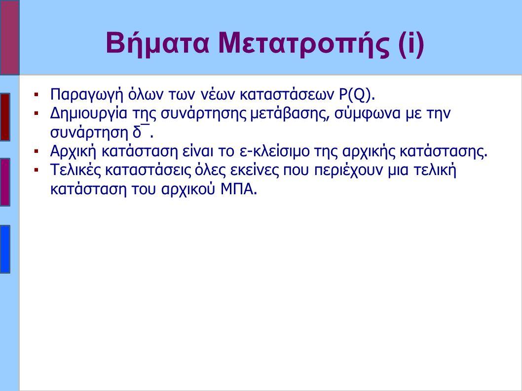 Βήματα Μετατροπής (i) ▪Παραγωγή όλων των νέων καταστάσεων P(Q). ▪Δημιουργία της συνάρτησης μετάβασης, σύμφωνα με την συνάρτηση δ‾. ▪Αρχική κατάσταση ε