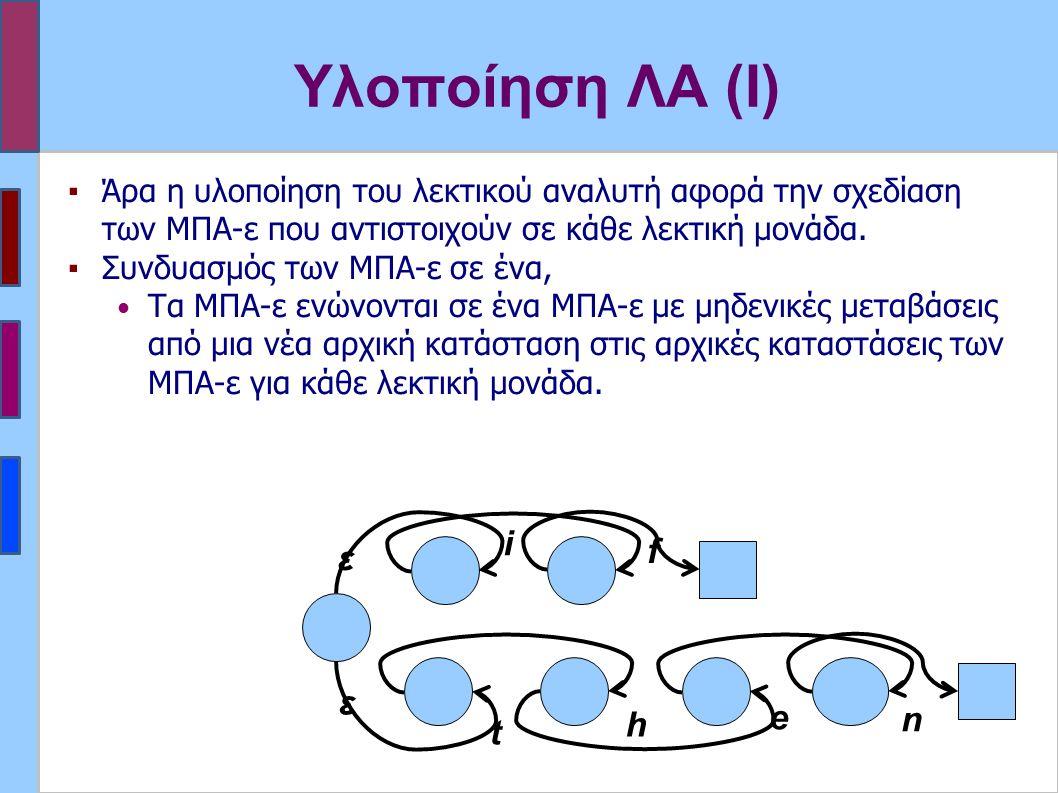 Υλοποίηση ΛΑ (Ι) ▪Άρα η υλοποίηση του λεκτικού αναλυτή αφορά την σχεδίαση των ΜΠΑ-ε που αντιστοιχούν σε κάθε λεκτική μονάδα. ▪Συνδυασμός των ΜΠΑ-ε σε