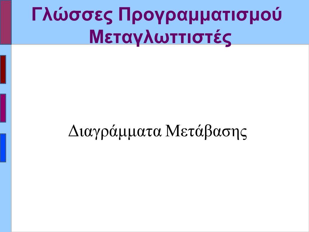 Γλώσσες Προγραμματισμού Μεταγλωττιστές Διαγράμματα Μετάβασης