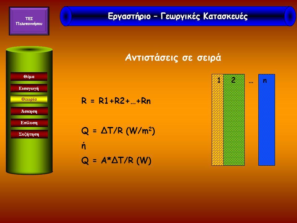Αντιστάσεις σε σειρά Εισαγωγή Θεωρία Άσκηση Επίλυση Συζήτηση Θέμα R = R1+R2+…+Rn Q = ΔΤ/R (W/m 2 ) ή Q = Α*ΔΤ/R (W) 1 2 … n Εργαστήριο – Γεωργικές Κατ