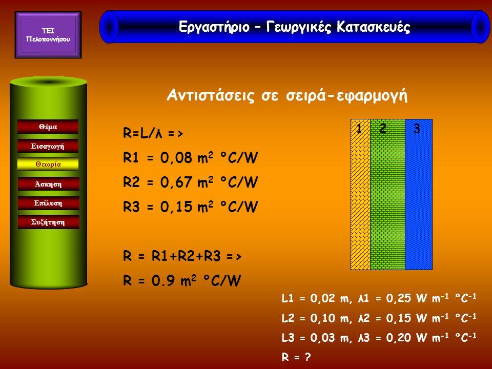 Αντιστάσεις σε σειρά-εφαρμογή Εισαγωγή Θεωρία Άσκηση Επίλυση Συζήτηση Θέμα R=L/λ => R1 = 0,08 m 2 °C/W R2 = 0,67 m 2 °C/W R3 = 0,15 m 2 °C/W R = R1+R2