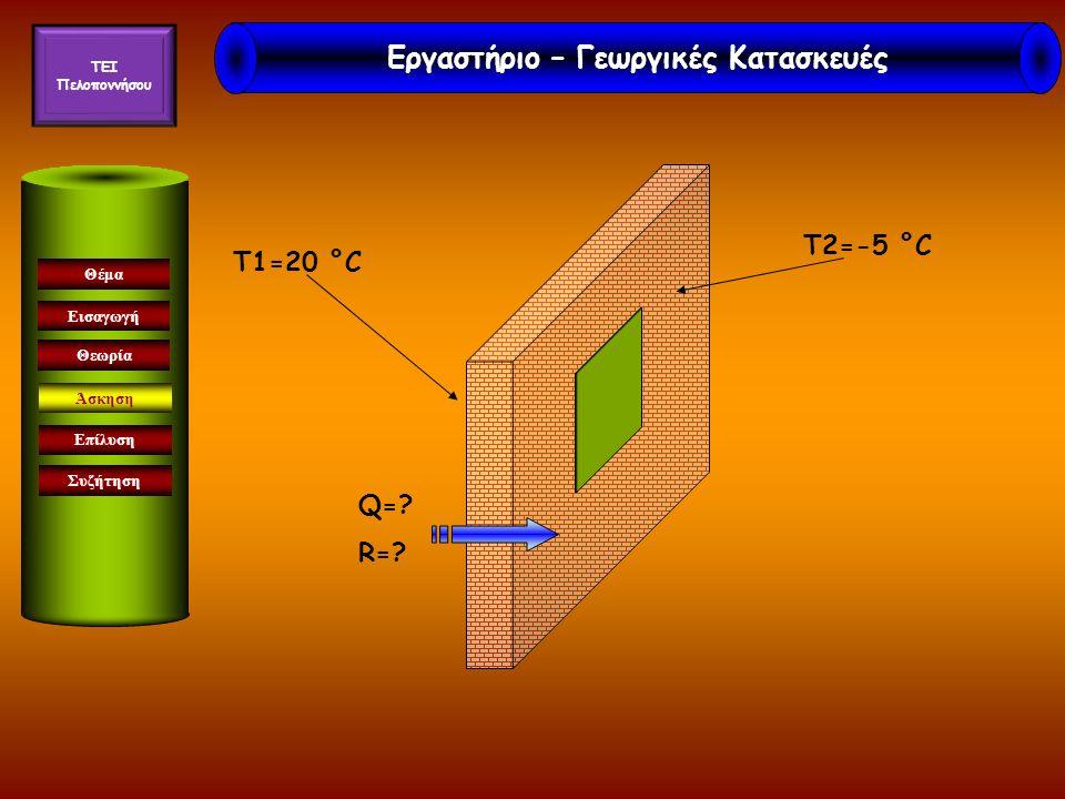 Εισαγωγή Άσκηση Επίλυση Συζήτηση Θέμα Θεωρία T2=-5 °C T1=20 °C Q=? R=? Εργαστήριο – Γεωργικές Κατασκευές TEI Πελοποννήσου