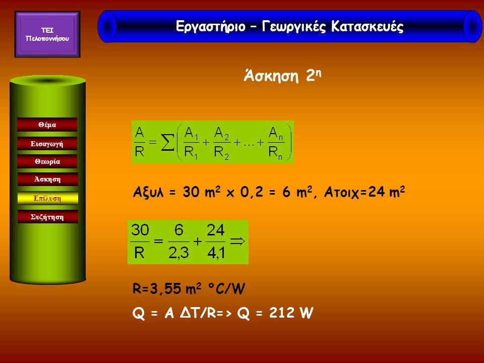 Εισαγωγή Θεωρία Άσκηση Επίλυση Συζήτηση Θέμα Aξυλ = 30 m 2 x 0,2 = 6 m 2, Aτοιχ=24 m 2 R=3,55 m 2 °C/W Q = A ΔΤ/R=> Q = 212 W Άσκηση 2 η Εργαστήριο –