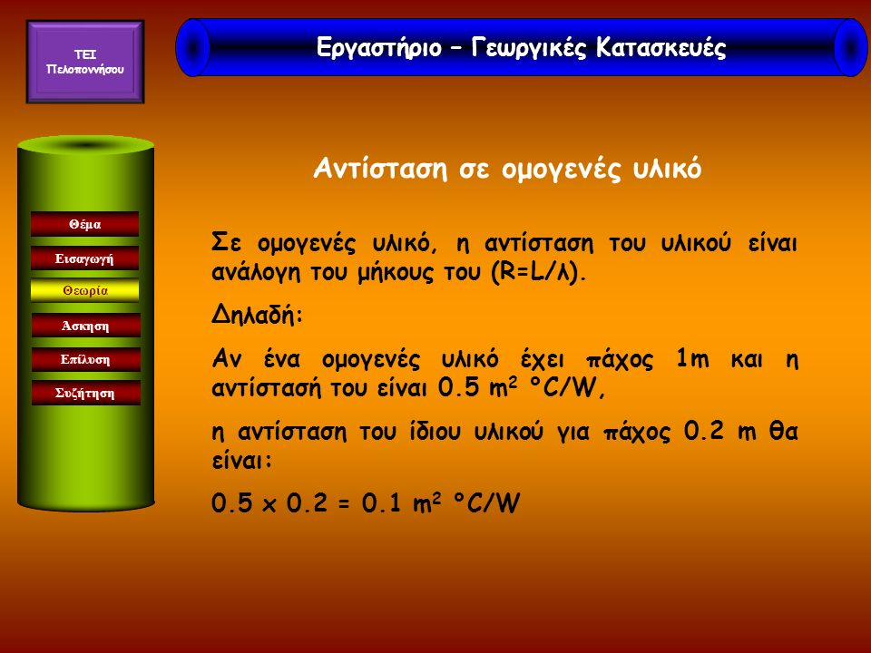 Εισαγωγή Άσκηση Επίλυση Συζήτηση Θέμα Θεωρία R ξυλ =2,3 m 2 °C/W R τοιχ =4,1 m 2 °C/W Εργαστήριο – Γεωργικές Κατασκευές TEI Πελοποννήσου