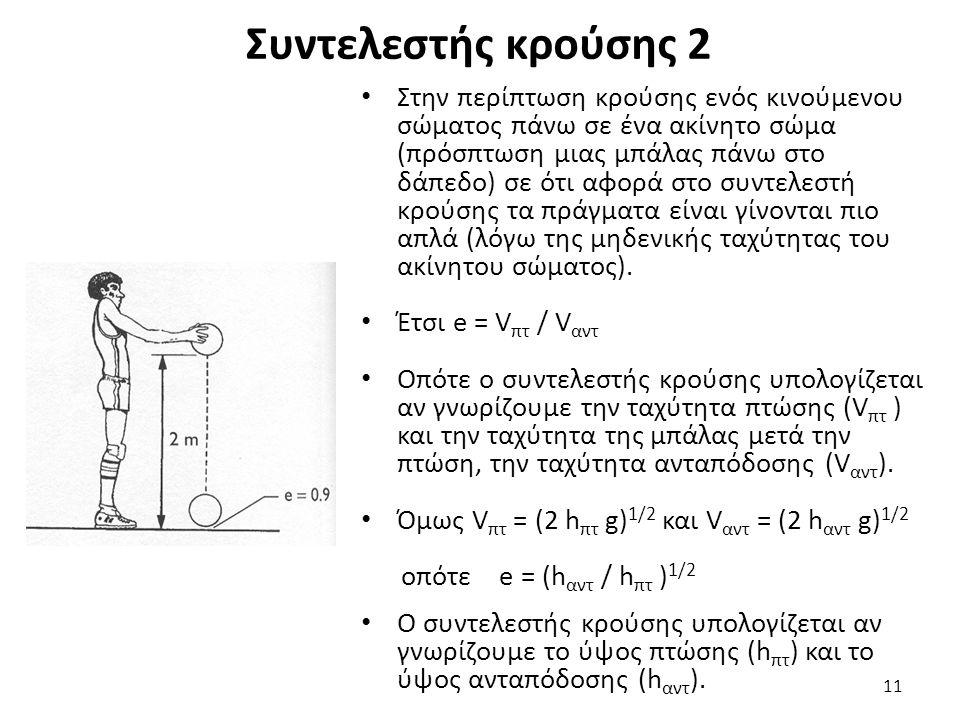 Συντελεστής κρούσης 2 Στην περίπτωση κρούσης ενός κινούμενου σώματος πάνω σε ένα ακίνητο σώμα (πρόσπτωση μιας μπάλας πάνω στο δάπεδο) σε ότι αφορά στο συντελεστή κρούσης τα πράγματα είναι γίνονται πιο απλά (λόγω της μηδενικής ταχύτητας του ακίνητου σώματος).