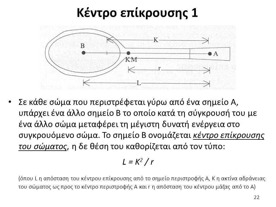 Κέντρο επίκρουσης 1 Σε κάθε σώμα που περιστρέφεται γύρω από ένα σημείο Α, υπάρχει ένα άλλο σημείο Β το οποίο κατά τη σύγκρουσή του με ένα άλλο σώμα μεταφέρει τη μέγιστη δυνατή ενέργεια στο συγκρουόμενο σώμα.
