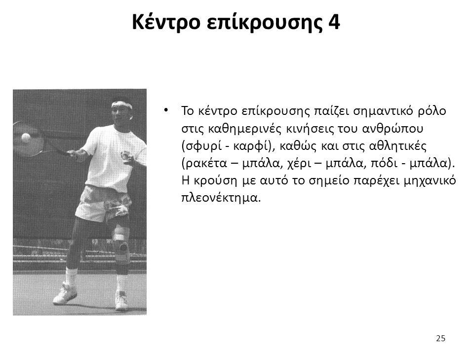 Κέντρο επίκρουσης 4 Το κέντρο επίκρουσης παίζει σημαντικό ρόλο στις καθημερινές κινήσεις του ανθρώπου (σφυρί - καρφί), καθώς και στις αθλητικές (ρακέτα – μπάλα, χέρι – μπάλα, πόδι - μπάλα).