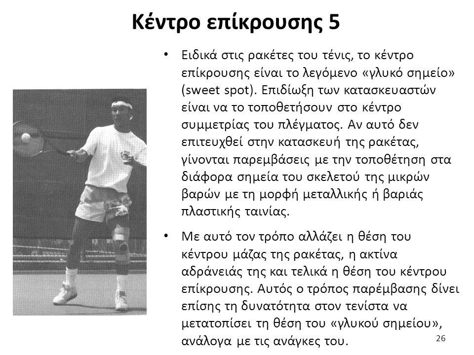 Κέντρο επίκρουσης 5 Ειδικά στις ρακέτες του τένις, το κέντρο επίκρουσης είναι το λεγόμενο «γλυκό σημείο» (sweet spot).