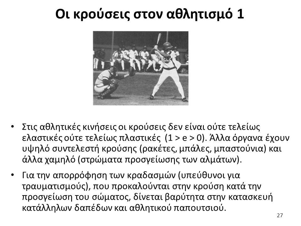 Οι κρούσεις στον αθλητισμό 1 Στις αθλητικές κινήσεις οι κρούσεις δεν είναι ούτε τελείως ελαστικές ούτε τελείως πλαστικές (1 > e > 0).