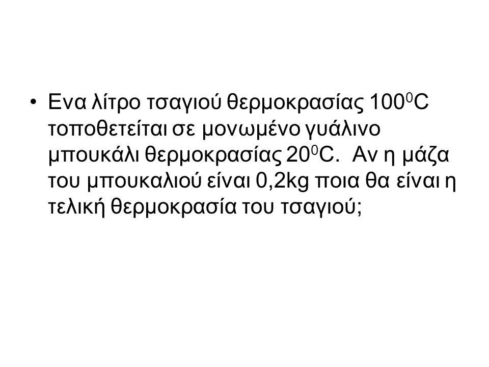 Ενα λίτρο τσαγιού θερμοκρασίας 100 0 C τοποθετείται σε μονωμένο γυάλινο μπουκάλι θερμοκρασίας 20 0 C.