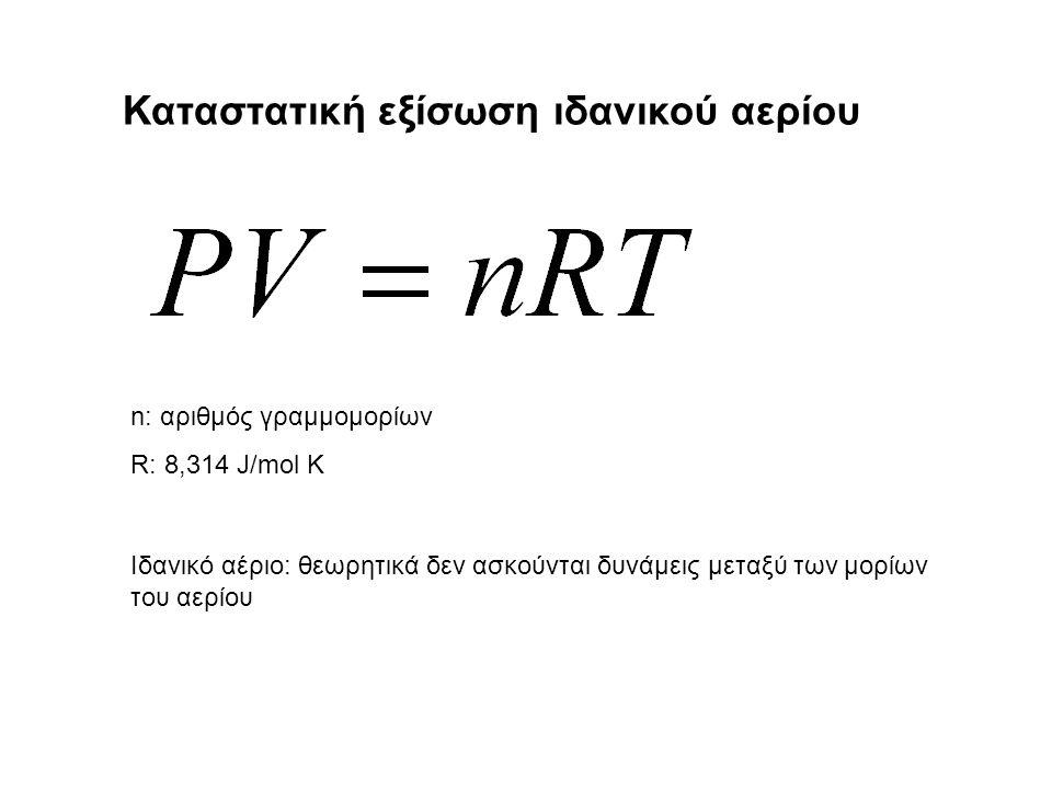 Καταστατική εξίσωση ιδανικού αερίου n: αριθμός γραμμομορίων R: 8,314 J/mol K Ιδανικό αέριο: θεωρητικά δεν ασκούνται δυνάμεις μεταξύ των μορίων του αερίου
