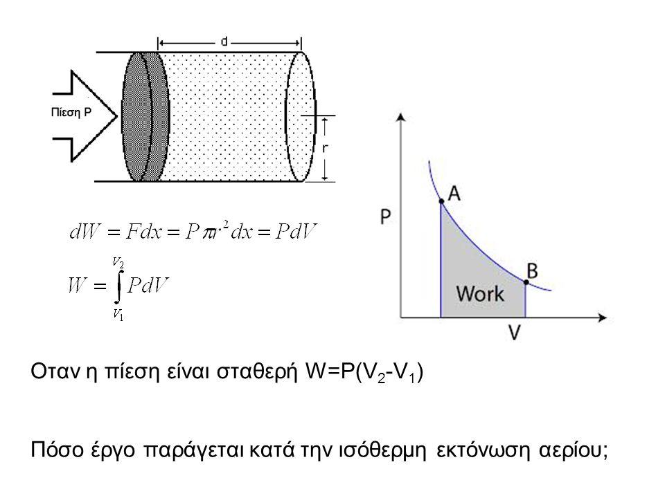 Οταν η πίεση είναι σταθερή W=P(V 2 -V 1 ) Πόσο έργο παράγεται κατά την ισόθερμη εκτόνωση αερίου;