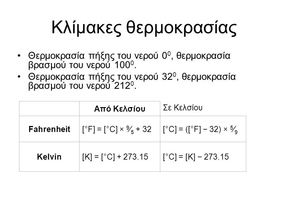Καταστατικές παράμετροι: –Πίεση –Θερμοκρασία –Ογκος –Μάζα Καταστατική εξίσωση
