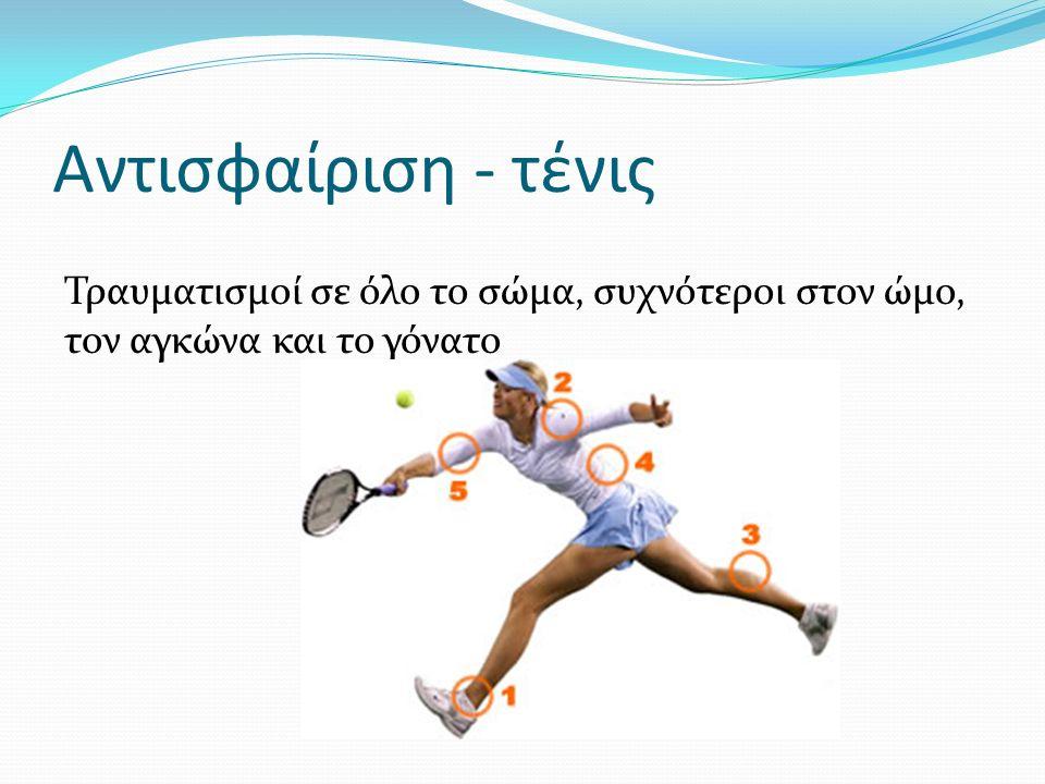 Αντισφαίριση - τένις Τραυματισμοί σε όλο το σώμα, συχνότεροι στον ώμο, τον αγκώνα και το γόνατο