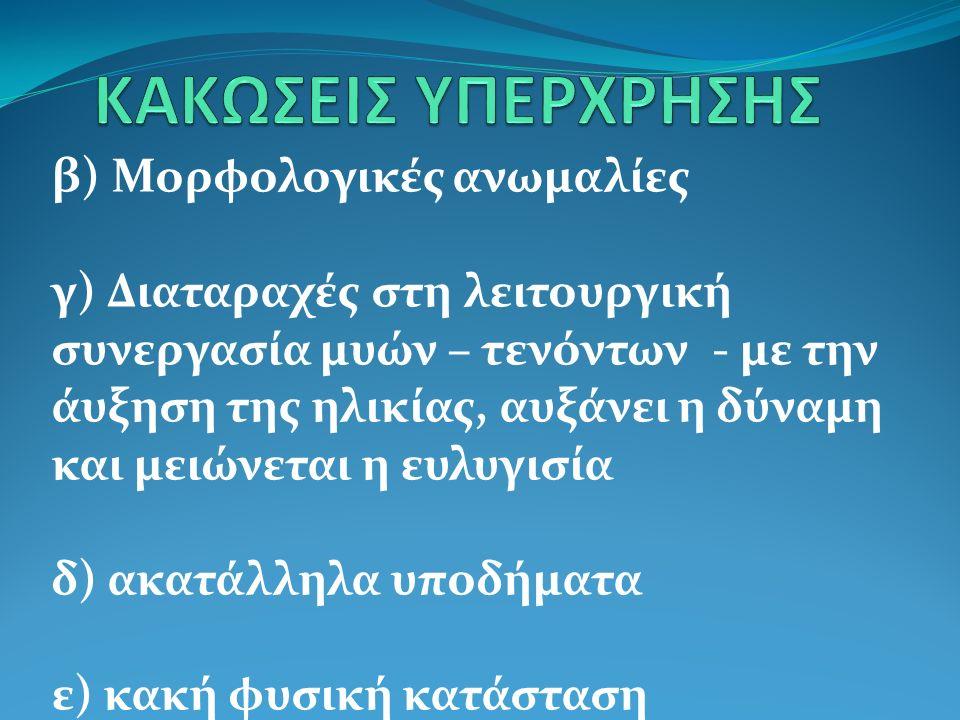 Γ) Κακώσεις στις προσφύσεις των τενόντων Οστεοχονδρίτιδα του κνημιαίου κυρτώματος (ποδοσφαιριστές)