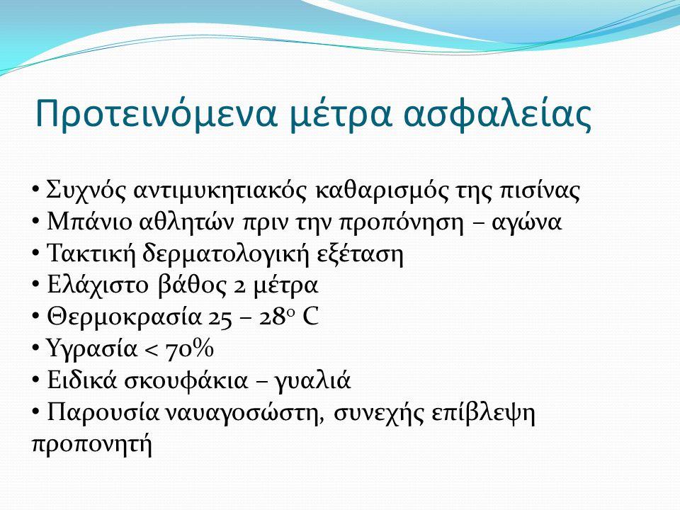Προτεινόμενα μέτρα ασφαλείας Συχνός αντιμυκητιακός καθαρισμός της πισίνας Μπάνιο αθλητών πριν την προπόνηση – αγώνα Τακτική δερματολογική εξέταση Ελάχιστο βάθος 2 μέτρα Θερμοκρασία 25 – 28 ο C Υγρασία < 70% Ειδικά σκουφάκια – γυαλιά Παρουσία ναυαγοσώστη, συνεχής επίβλεψη προπονητή