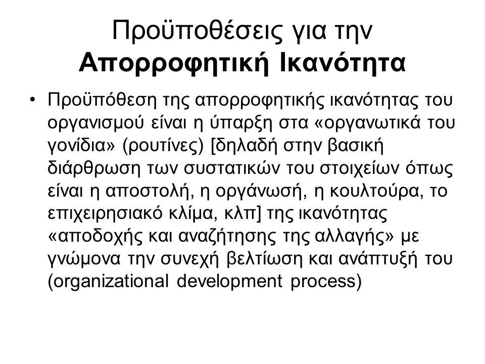 Προϋποθέσεις για την Απορροφητική Ικανότητα Προϋπόθεση της απορροφητικής ικανότητας του οργανισμού είναι η ύπαρξη στα «οργανωτικά του γονίδια» (ρουτίν