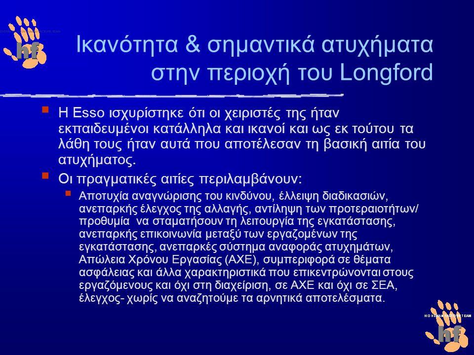 Ικανότητα & σημαντικά ατυχήματα στην περιοχή του Longford  Η Esso ισχυρίστηκε ότι οι χειριστές της ήταν εκπαιδευμένοι κατάλληλα και ικανοί και ως εκ