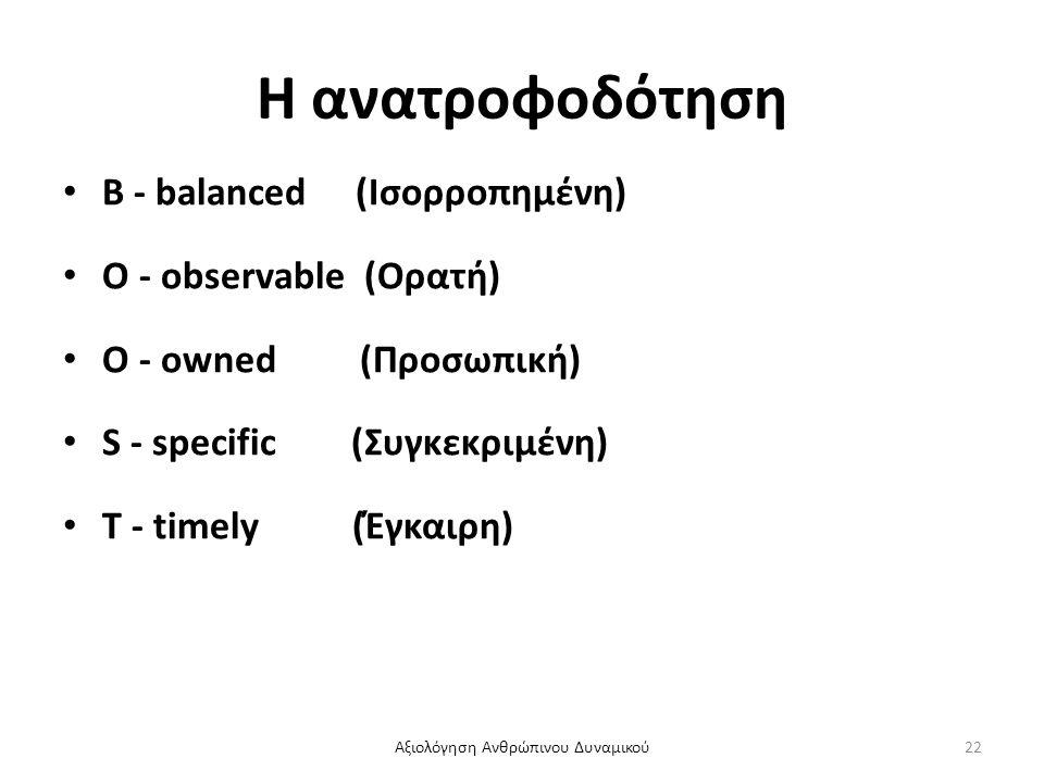 Η ανατροφοδότηση B - balanced (Ισορροπημένη) O - observable (Ορατή) O - owned (Προσωπική) S - specific (Συγκεκριμένη) T - timely (Έγκαιρη) Αξιολόγηση