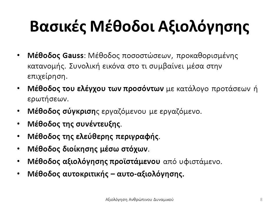 Βασικές Μέθοδοι Αξιολόγησης Μέθοδος Gauss: Μέθοδος ποσοστώσεων, προκαθορισμένης κατανομής. Συνολική εικόνα στο τι συμβαίνει μέσα στην επιχείρηση. Μέθο