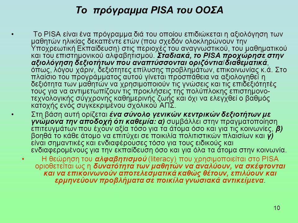 10 Το πρόγραμμα PISA του ΟΟΣΑ Το PISA είναι ένα πρόγραμμα διά του οποίου επιδιώκεται η αξιολόγηση των μαθητών ηλικίας δεκαπέντε ετών (που σχεδόν ολοκληρώνουν την Υποχρεωτική Εκπαίδευση) στις περιοχές του αναγνωστικού, του μαθηματικού και του επιστημονικού αλφαβητισμού.