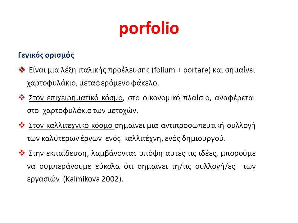 porfolio Γενικός ορισμός   Είναι μια λέξη ιταλικής προέλευσης (folium + portare) και σημαίνει χαρτοφυλάκιο, μεταφερόμενο φάκελο.
