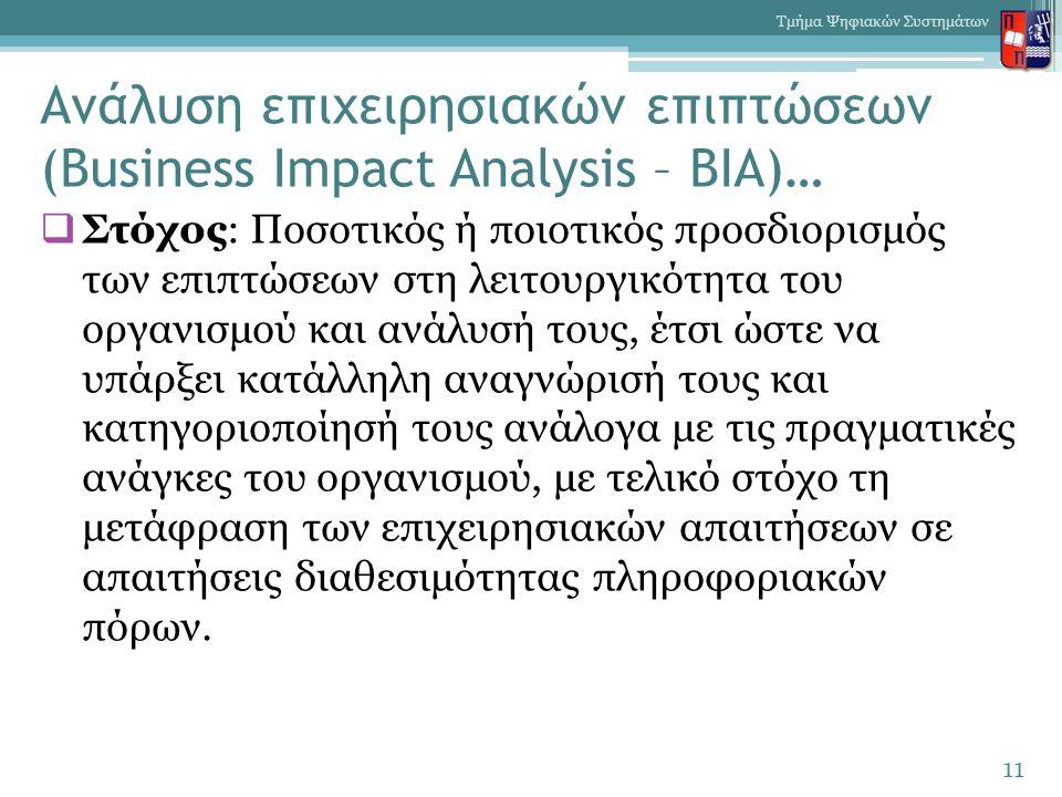 Ανάλυση επιχειρησιακών επιπτώσεων (Business Impact Analysis – BIA)…  Στόχος: Ποσοτικός ή ποιοτικός προσδιορισμός των επιπτώσεων στη λειτουργικότητα του οργανισμού και ανάλυσή τους, έτσι ώστε να υπάρξει κατάλληλη αναγνώρισή τους και κατηγοριοποίησή τους ανάλογα με τις πραγματικές ανάγκες του οργανισμού, με τελικό στόχο τη μετάφραση των επιχειρησιακών απαιτήσεων σε απαιτήσεις διαθεσιμότητας πληροφοριακών πόρων.