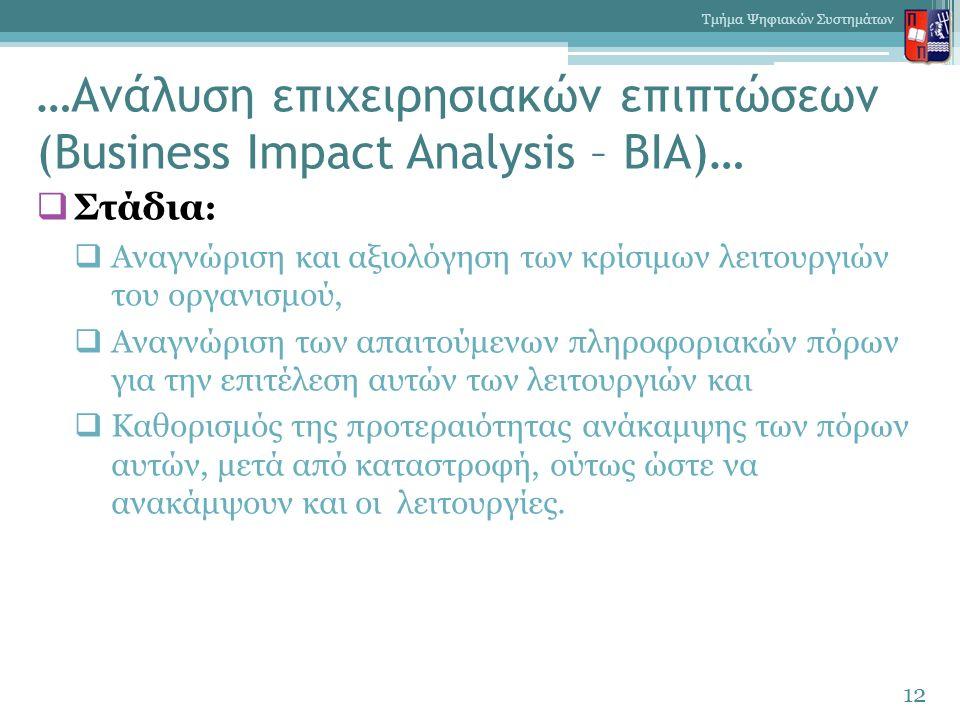 …Ανάλυση επιχειρησιακών επιπτώσεων (Business Impact Analysis – BIA)…  Στάδια :  Αναγνώριση και αξιολόγηση των κρίσιμων λειτουργιών του οργανισμού,  Αναγνώριση των απαιτούμενων πληροφοριακών πόρων για την επιτέλεση αυτών των λειτουργιών και  Καθορισμός της προτεραιότητας ανάκαμψης των πόρων αυτών, μετά από καταστροφή, ούτως ώστε να ανακάμψουν και οι λειτουργίες.